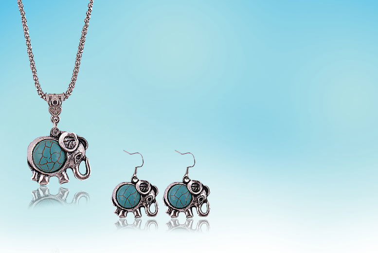 £10 instead of £75.99 (from Alvi's Fashion) for a Tibetan-style elephant jewellery set - find your zen and save 87%