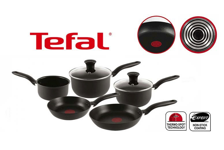 5pc Tefal Hard Anodised Non-Stick Cookware Set