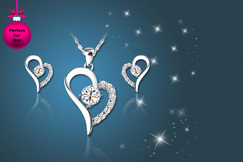 £12 instead of £129.99 (from Your Ideal Gift) for an 18k white gold-plated heart pendant and earring set made with Swarovski Elements - save 91%