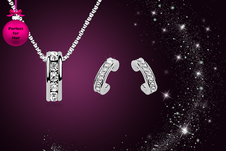 £12 instead of £73.99 (from Elle and Be) for a crescent necklace and earring set made with Swarovski Elements - save 84%