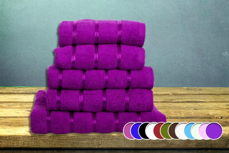 £16.99 instead of £99.99 (from Groundlevel.co.uk) for a 5-piece Egyptian cotton and satin stripe towel set in a choice of 10 colours - save 83%