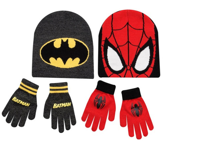 £4.99 instead of £9.99 for a a hat and gloves set, saving kids from the cold in Batman and Spider-man designs from Ckent Ltd - save 50%