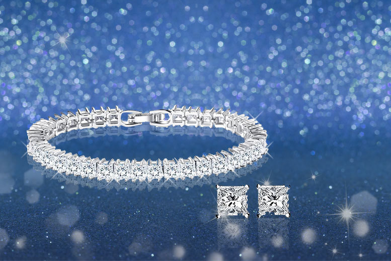 £9 instead of £98 (from Fakurma) for a tennis bracelet and earrings set - save 91%
