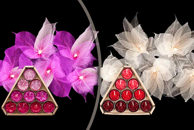 £18 instead of £32.45 (from Blaze On) for handmade, ethical leaf fairy lights & 10 flower design tea lights in a choice of colours - save 45%