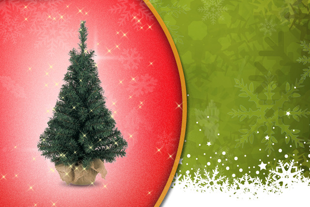 £4.99 instead of £9.99 (from Uniquely Christmas Trees) for a mini 60cm artificial Christmas tree in jute bag - save 50%