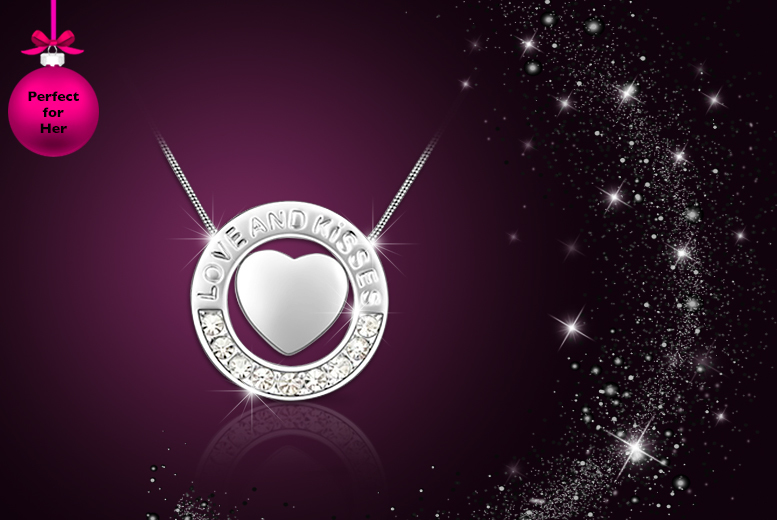 £10 instead of £89.99 (from My Boutique Store) for a 'Love & Kisses' necklace made with Swarovski Elements - save 89%