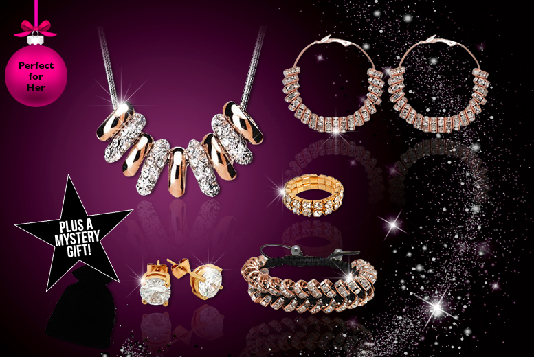 £16 instead of £200 (from Cian Jewels) for a 6pc crystal ring jewellery set made with Swarovski Elements - sparkle this Christmas and save 92%