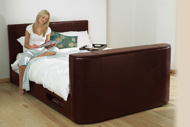 £299 for a double Hollywood faux leather TV bed, £349 for king size or £399 for super king size from Wowcher Direct - save up to 46%