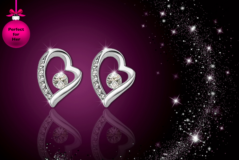 £9 instead of £34.50 (from WildBerries) for a pair of heart earrings made with Swarovski Elements - save 74%