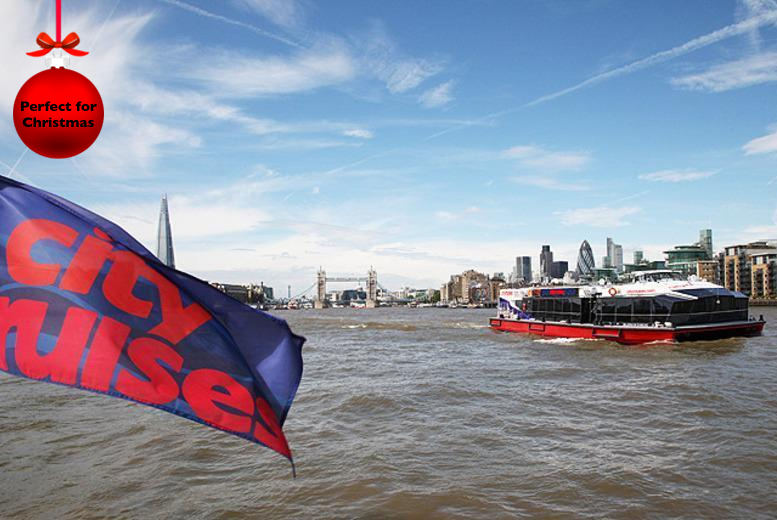 £30 instead of £60 for a Thames river cruise for 2 inc 2-course lunch and tea & coffee, £60 for 4 from City Cruises - save 50%
