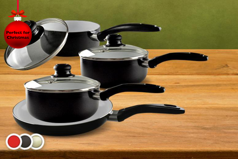 £24.99 instead of £149.99 for a 7-piece ceramic cookware set inc. saucepan, frying pan and saucepots in red, black or cream from Wowcher Direct - save 83%