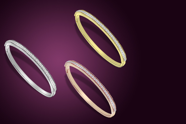 £10 (from Zoo Jewellery) for an 18ct gold plated Belle sparkle bangle with zirconia detail - choose from 3 colours!
