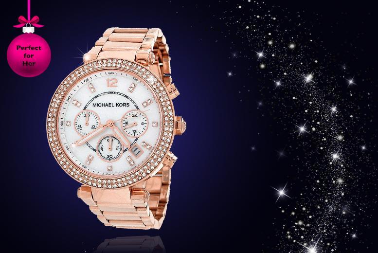 £135 instead of £229 for a Michael Kors ladies' rose gold steel chronograph bracelet watch from Wowcher Direct - save 41% + DELIVERY INCLUDED