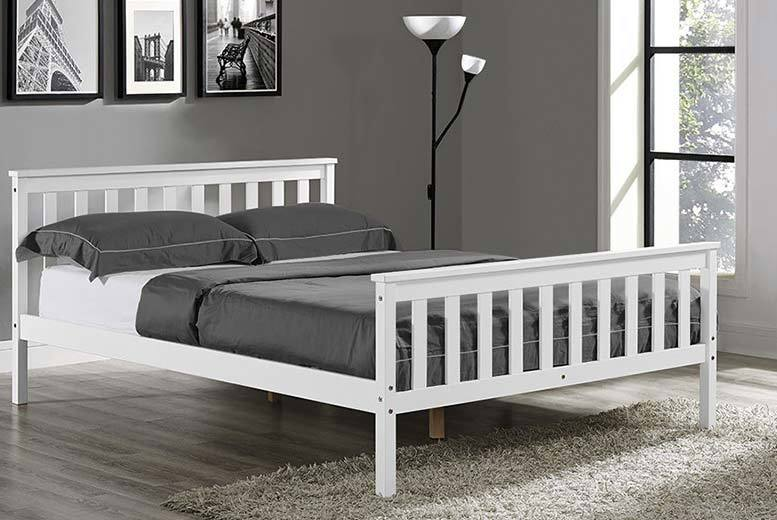 £59 instead of £300.01 (from Jia Interiors) for a single luxury white wooden bed, or £69 for a double - sleep soundly and save up to 80%