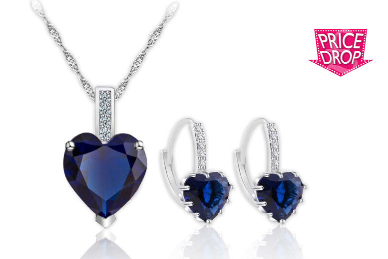 Your Ideal Gift Crystal Pendant & Earring Set (Multiple Colours)