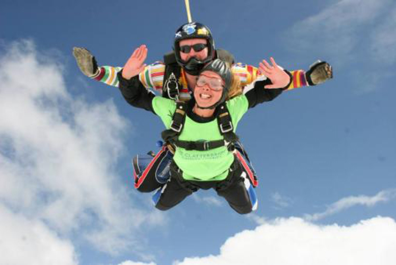 £199 for a tandem sky dive for one person, £390 for two people at Skydive St. George, Durham – take to the skies and fly, fly away!