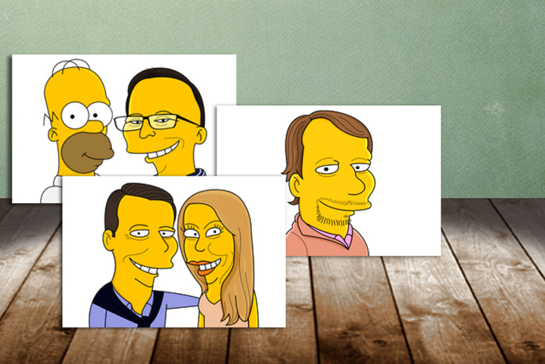 £9 for a personalised caricature of 1 person, £15 for a couple or £15 for 1 person with Homer from Cartoon Kart