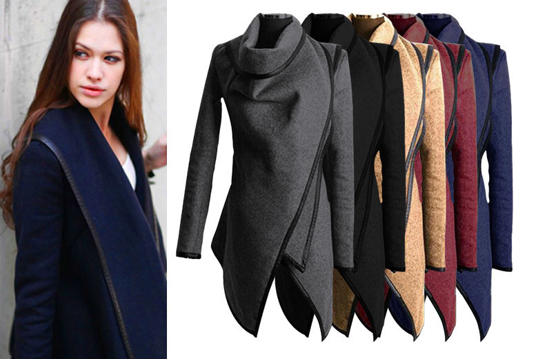 £18 instead of £79 (from Boni Caro) for a women's asymmetrical coat - choose from five colours and save 77%