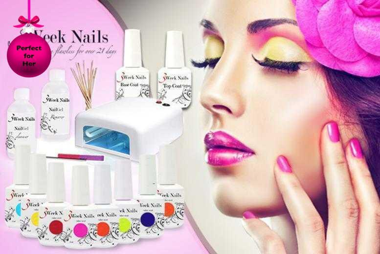 £58 (from 3 Week Nails) for a 12-piece home gel manicure starter kit inc. 4 polishes, £65 to include 6 polishes or £69 to include 8 - save up to 75%