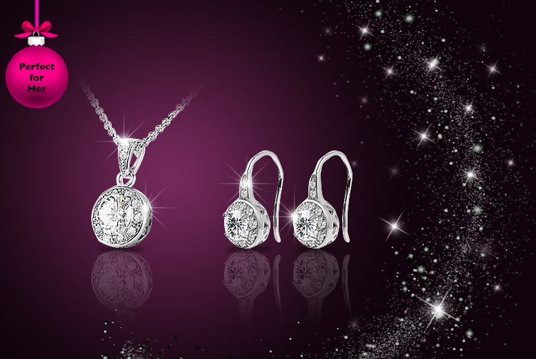£12 instead of £129 (from Your Ideal Gift) for an 18k white gold plated solitaire necklace and drop earrings set made with Swarovski Elements - save 91%