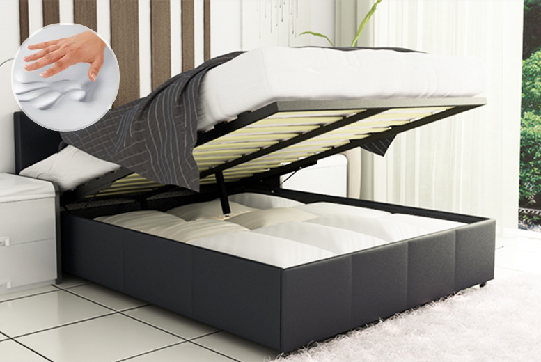 £119 (from Fishoom) for a king size ottoman storage bed, £249 to include a memory foam mattress - choose from 3 colours & save up to 78%