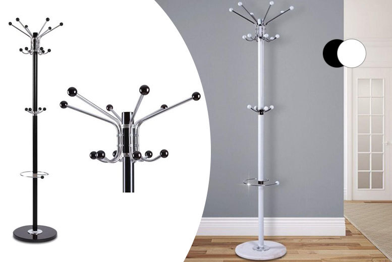 £16.99 instead of £54 (from Zoozio) for a modern 16-hook metal coat and hat stand with a marble base - save 69%