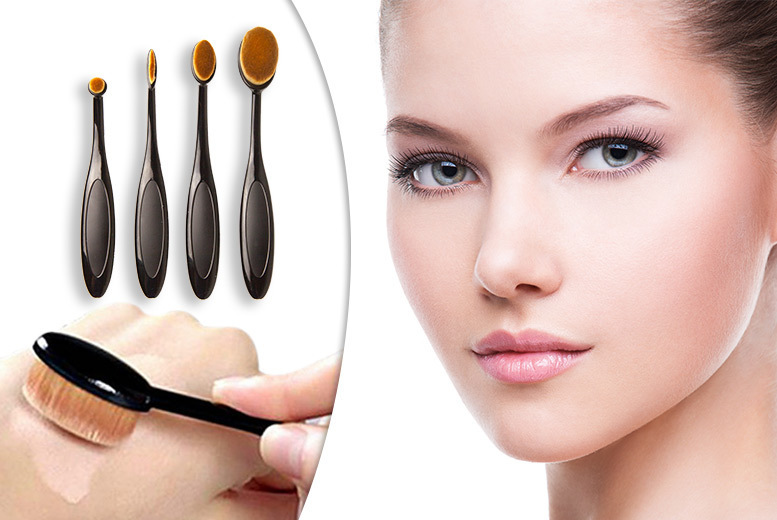 £9.99 instead of £49.99 (from Alvi's Fashion) for a four-piece oval makeup brush set - look and feel fabulous and save 80%