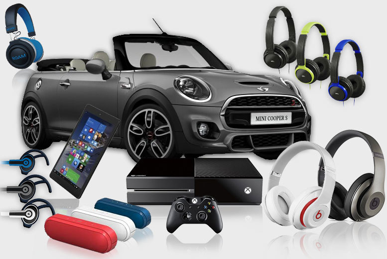 £15 for The Ultimate Mystery Deal - products include a MINI COOPER, ROAM and JVC Headphones, an XBOX One, Ministry of Sound Speakers and more!
