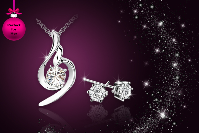 £12 instead of £119 (from Your Ideal Gift) for a clear swirl 18ct white gold-plated pendant and earring set made with Swarovski Elements - save 90%