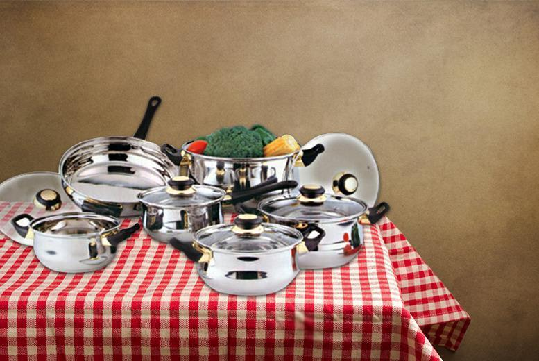 £24 instead of £91 for a 12-piece stainless steel cookware set from Wowcher Direct - save 74%