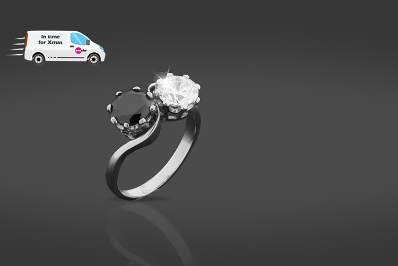 £79 instead of £899.99 (from British Gem) for a 2-carat black diamond and Swarovski Zirconia ring - save 91%