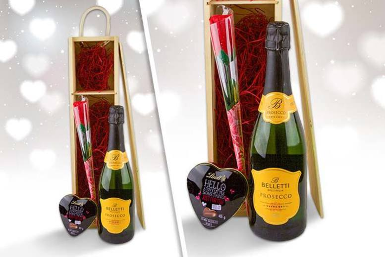 £29 instead of £43.05 for a Valentine's hamper containing Prosecco, Lindt chocolate and an artificial red rose from Nostalgic Campers - save a starry-eyed 42%