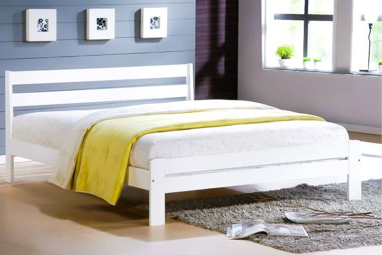 £69 instead of £300.01 (from Jia Interiors) for a single contemporary white wooden shaker bed, or £79 for a double - sleep soundly and save up to 78%