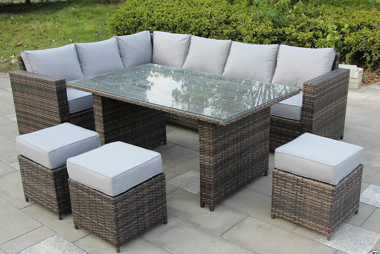£419 instead of £970 (from Dreams Outdoors) for a nine-seater rattan furniture set - choose either white or brown and save 57%