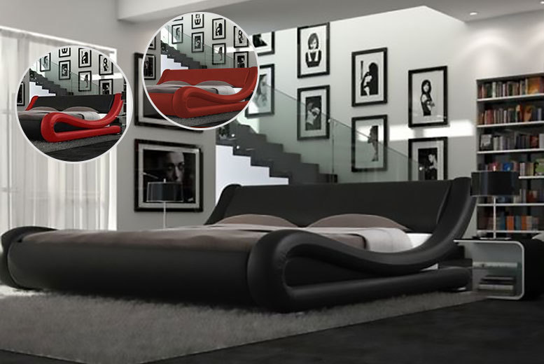 £89 (from Furniture Italia) for a double Enzo modern Italian designer faux leather bed, with a limited number available for £69, £109 for a king size – save up to 90%