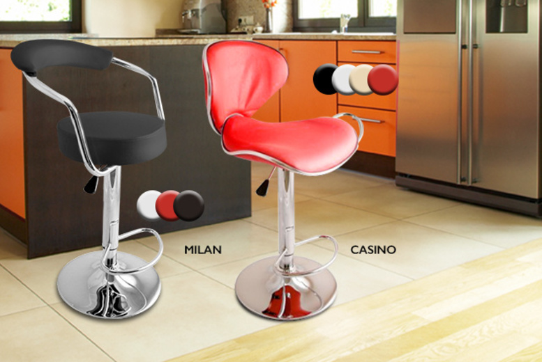 £49.99 instead of £113.98 (from Direct2Public) for two stylish faux leather breakfast bar stools - choose from six designs in a range of colours and save 56%