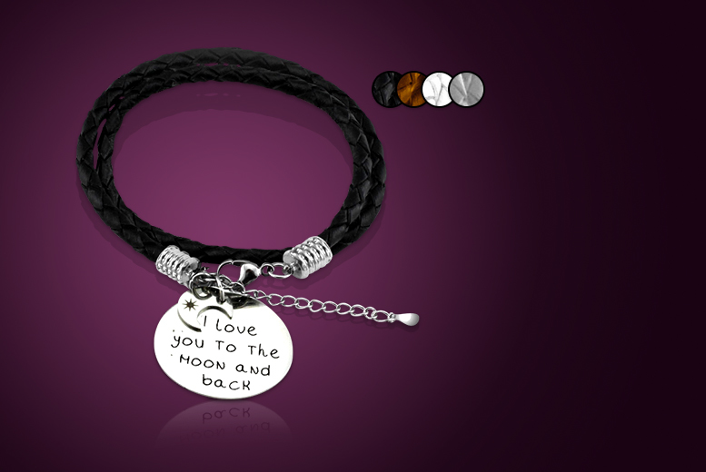 £9 instead of £45 (from Cian Jewels) for a choice of stainless steel and leather message bracelet - save 80%