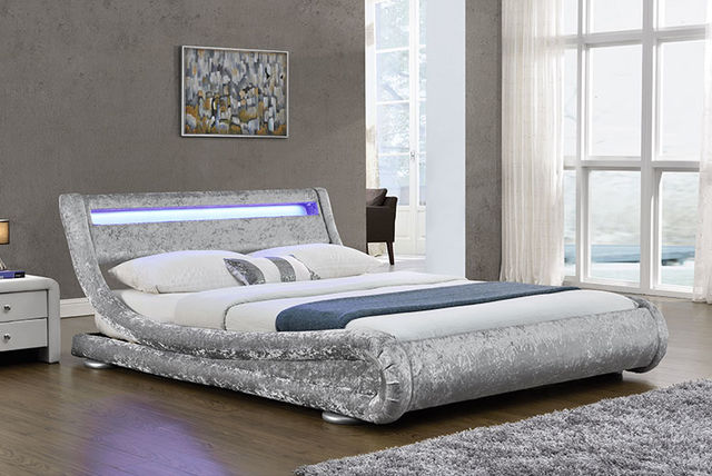 Led Crushed Velvet Bed 2 Colours Home Deals In London