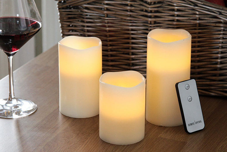 Three Remote Controlled LED Candles