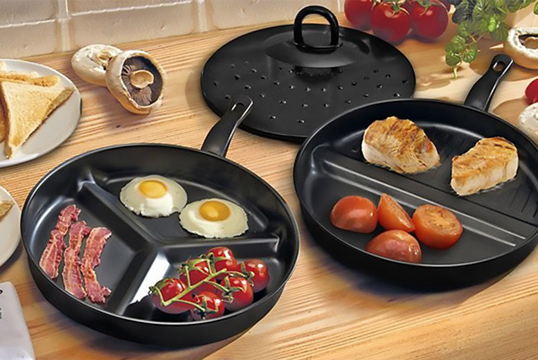 £9.99 instead of £39.99 (from Bargain Shop London) for a set of two divider frying pans - get cooking and save 75%