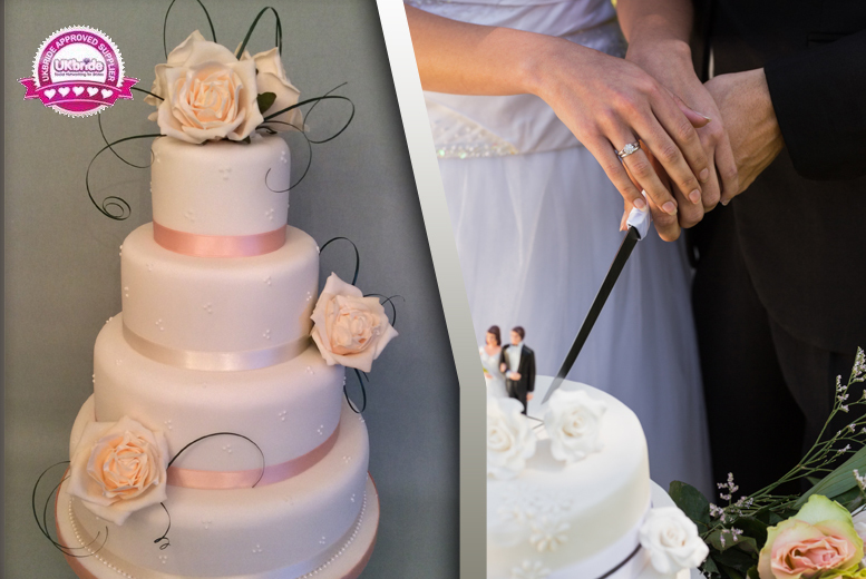 £169 for a 4-tier luxury wedding cake with flower decorations and ribbons from Ann's Designer Cakes, Surrey - save 64%