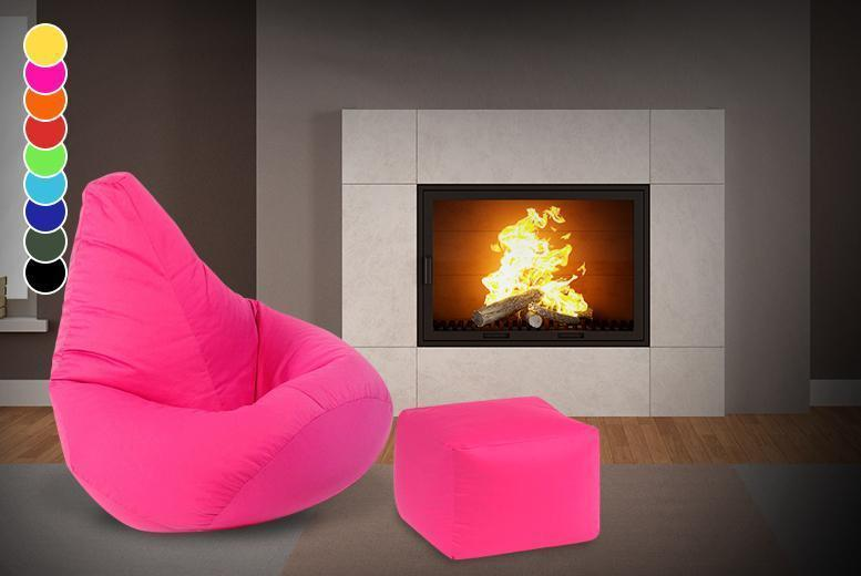 £29.99 instead of £90.04 (from UK Beanbags) for a highback beanbag with a matching footstool - choose from 9 colours and save 67%