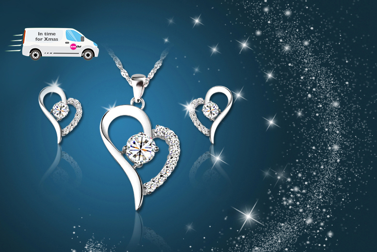 £12 instead of £127.99 (from Your Ideal Gift) for an 18k white gold-plated heart pendant and earring set made with Swarovski Elements - save 91%