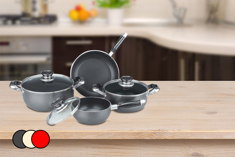 £24.99 instead of £149.99 for a 7-piece ceramic cookware set inc. saucepan, frying pan and saucepots in red, grey or cream from Wowcher Direct - save 83%