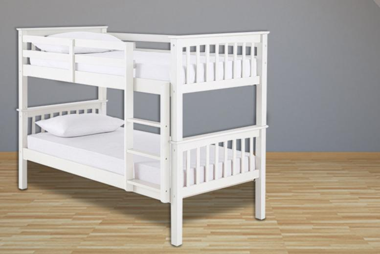 £199 (from FTA Furnishing) for a wooden bunk bed frame, or £349 for a frame and 2 reflex foam mattresses