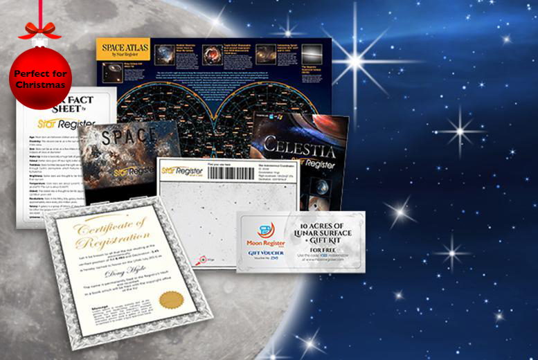 £9.99 instead of £19.99 (from Star Register) for a 'name a star' gift set inc. constellation map & more, £14.99 for 2 gift sets - save up to 50%