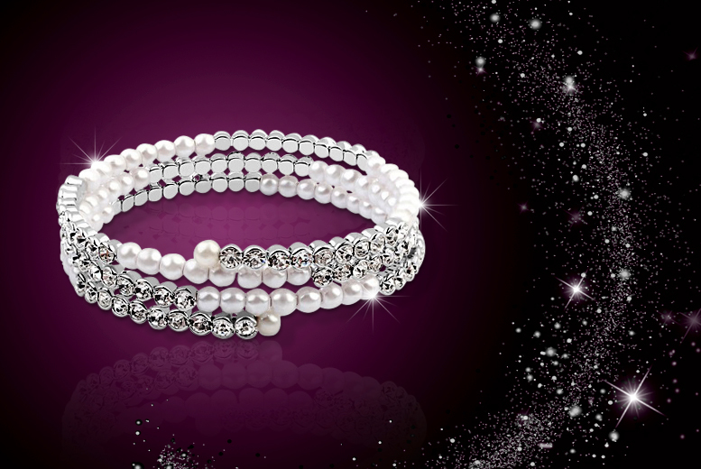 £10 instead of £59 (from Evoked Design) for a pearl and crystal bracelet made with Swarovski Elements - save 83%