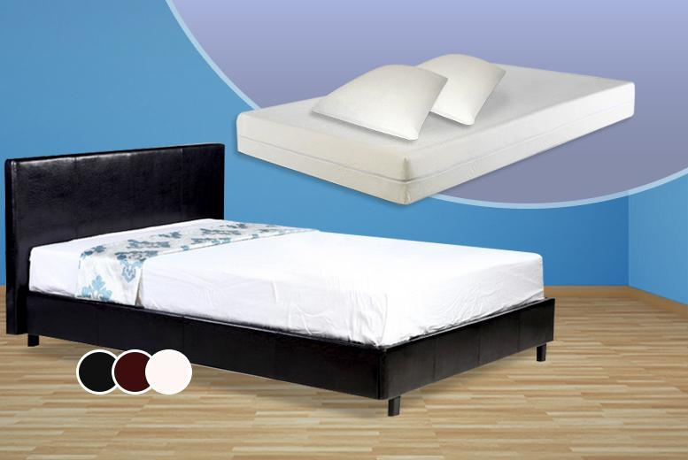 £179 (from D Furniture Store) for a Pablo faux leather double bed, memory foam mattress and two pillows, or £189 for a king - save up to 64%