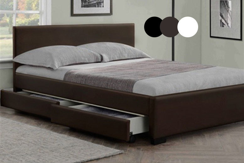 Modern italian leather storage bed mattress 129 save for Bedroom furniture deals