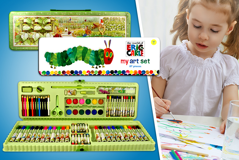 £5.99 for an 87-piece children's art set from Wowcher Direct - get Peter Rabbit or The Very Hungry Caterpillar!